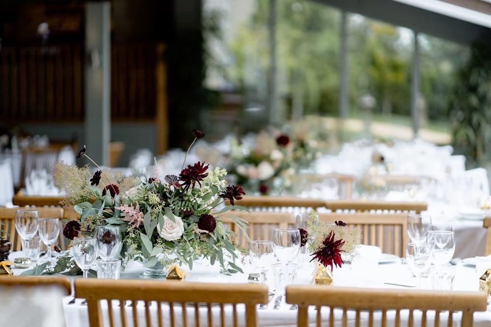 Autumnal wedding flowers at Stone Barn