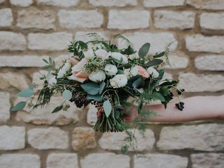 Winter wedding flowers at Hyde Barn
