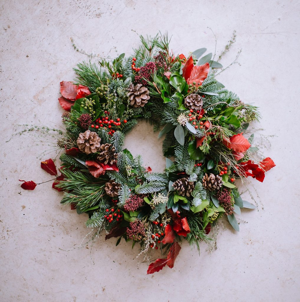 Christmas red berry wreath