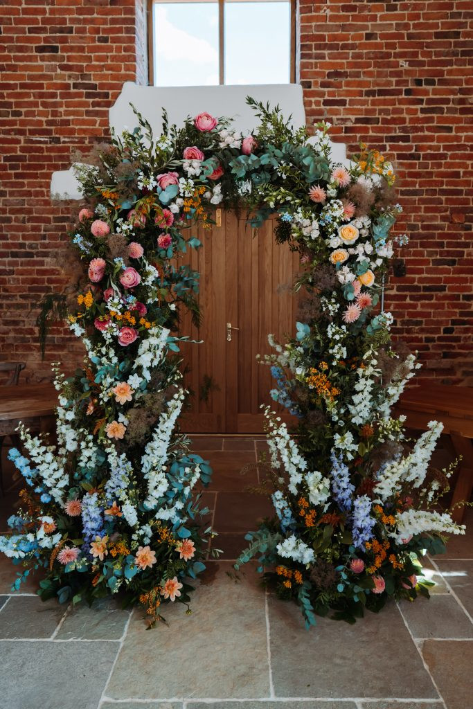 Wedding ceremony floral arch