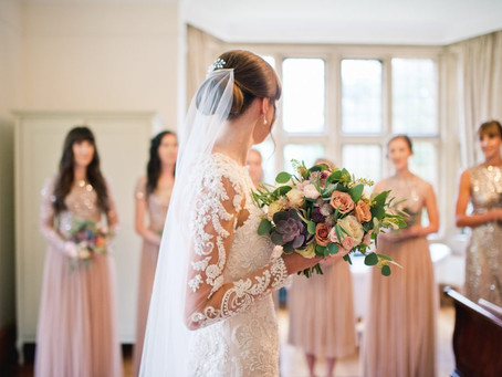 Autumnal wedding flowers at Coombe Lodge