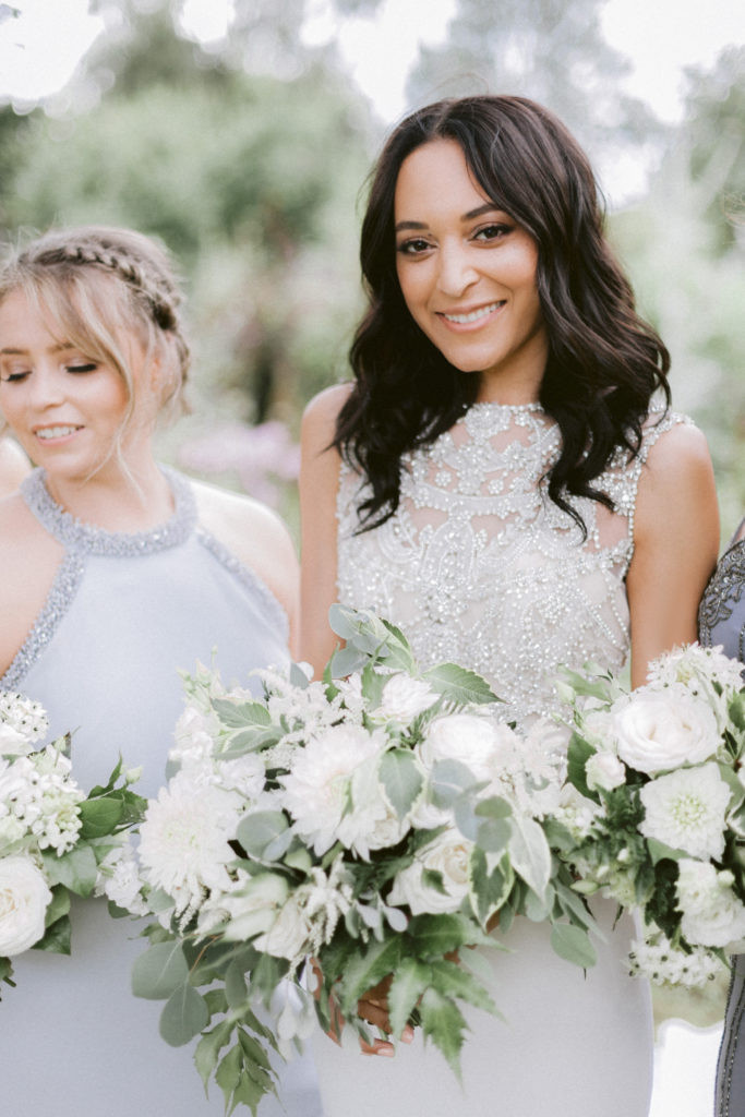 white summer wedding flowers at Elmore Court