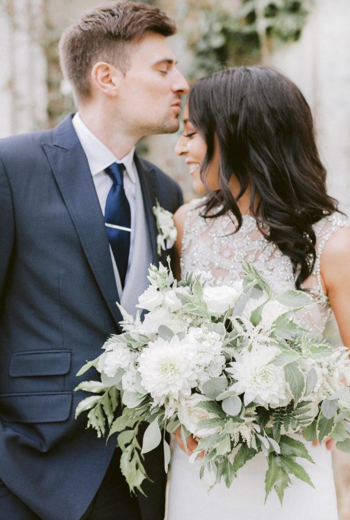 white bride bouquet at Elmore Court
