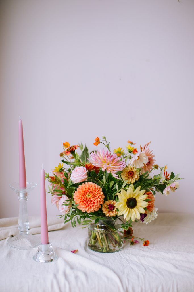 Coral and peach wedding flowers