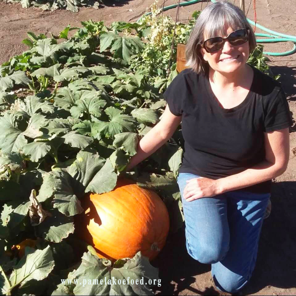 Woman in the garden with a pumpkin