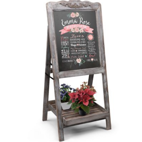 A Frame Rustic Chalkboard with Bottom Tray