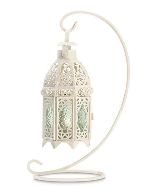 White Moroccan Style Tealight Lantern