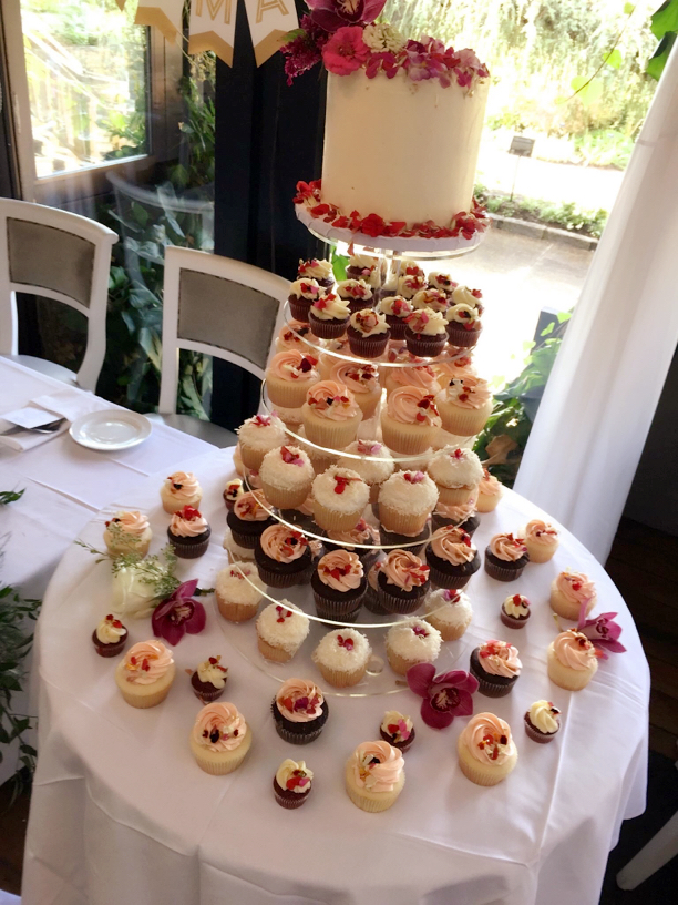 Edible Flower cake & Cupcake Tower