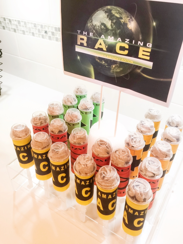 Amazing Race Push Pop Cakes