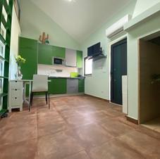 Salon cheminée verte