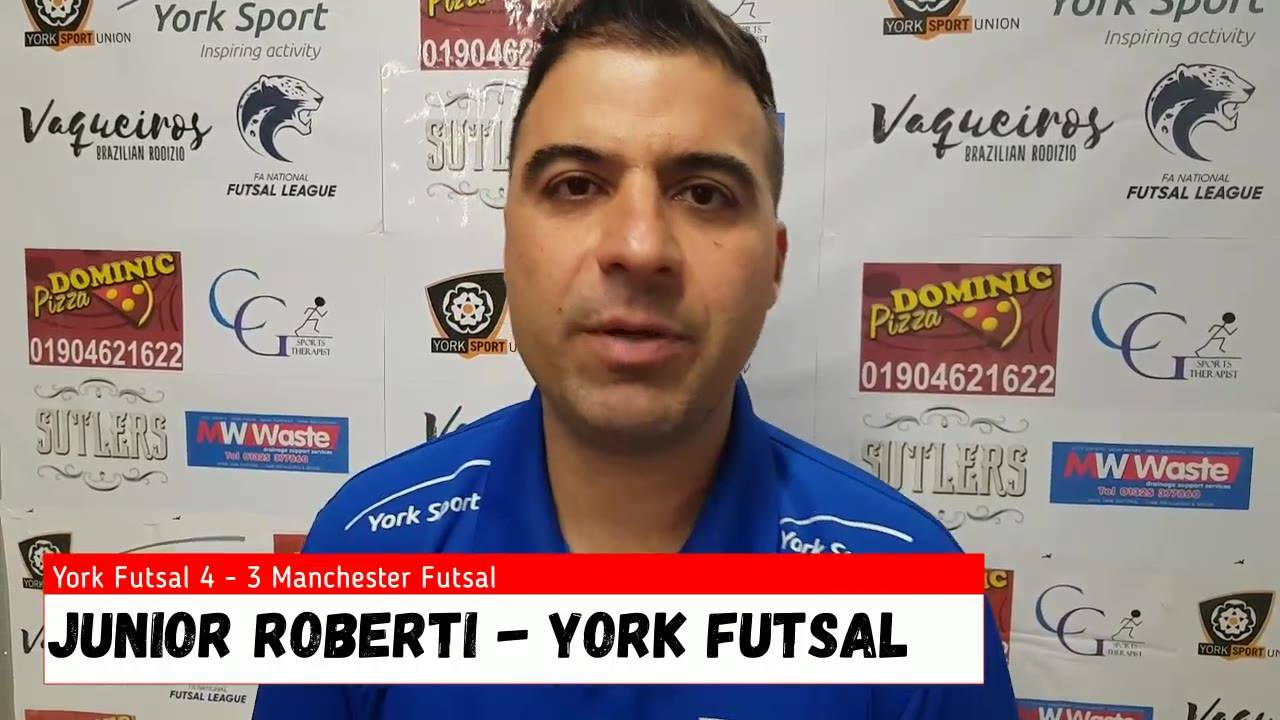 Junior Roberti speaks after 4-3 win against Manchester Futsal Club at YorkSport Arena.