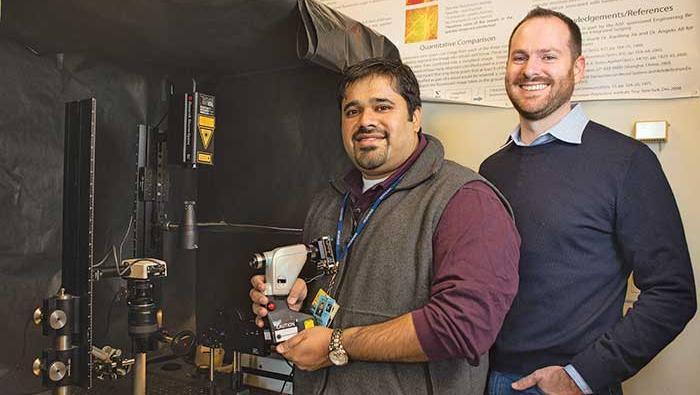 Abhishek Rege, left, and M. Jason Brooke of Vasoptic Medical Inc.