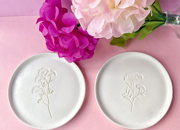 Clay Coaster with Floral Imprint