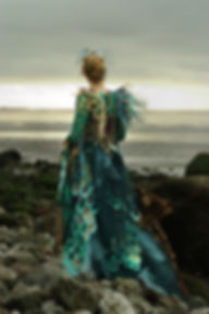Green fish scale dress with pearls and net by costume designer Katie Duxbury of duxburydesigns