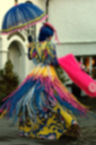 Historical fantasy multicoloured dress by costume designer Katie Duxbury of duxburydesigns,
