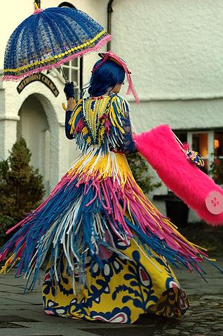 Historical fantasy multicoloured dress by costume designer Katie Duxbury of duxburydesigns,