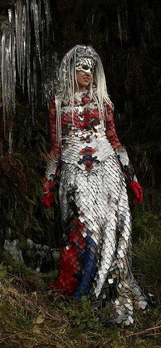 Floor length silver alternative bridal gown by costume designer Katie Duxbury of duxburydesigns