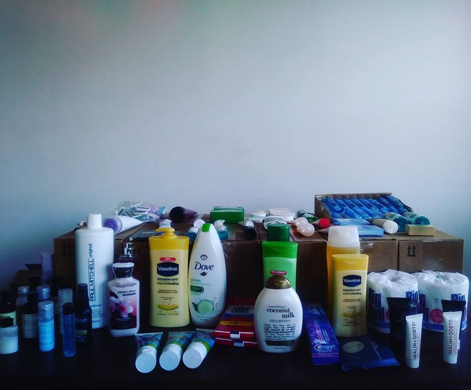 A collection of toiletries for the youth care packages.