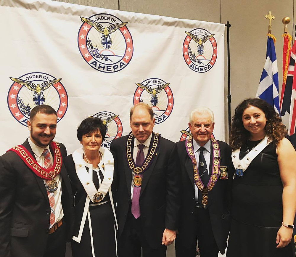 SOP Supreme President Poulos III, DOP Grand President Fomalont, Supreme President Hollister, AHEPA Australasia National President Peter Yiannoudes, and MOA Grand President Shakolas