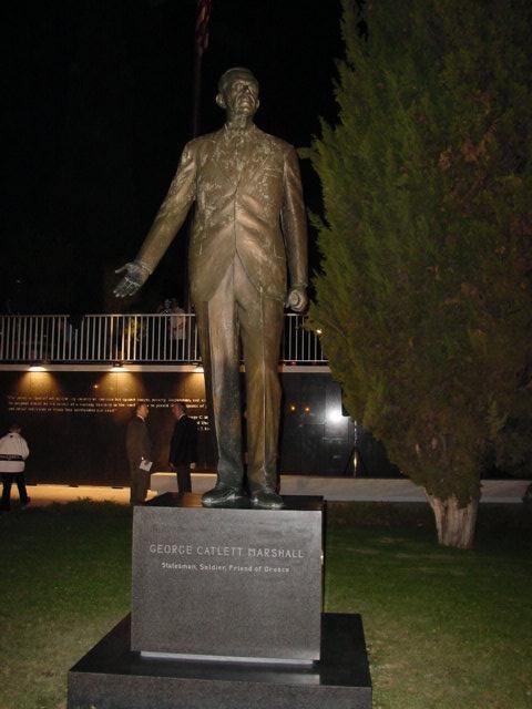 George C. Marshall Statue erected by AHEPA on the grounds of the U.S. Embassy in Athens