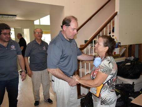Hollister surveys Harvey's damage, sets $100K goal; Initial $15K relief aid donated