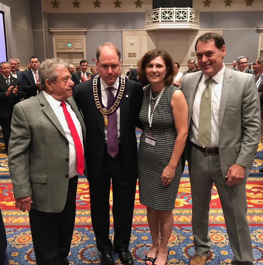 Past Supreme Governor Tasos Kalantzis, Supreme President Hollister, Mrs. Cynthia Hollister, and former U.S. Rep. Zack Space.
