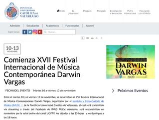 Comienza XVII Festival Internacional de Música Contemporánea Darwin Vargas
