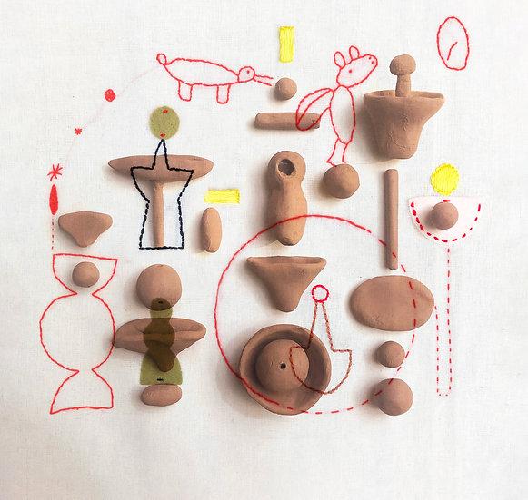 Brincar: intercâmbios entre desenho, argila e costura