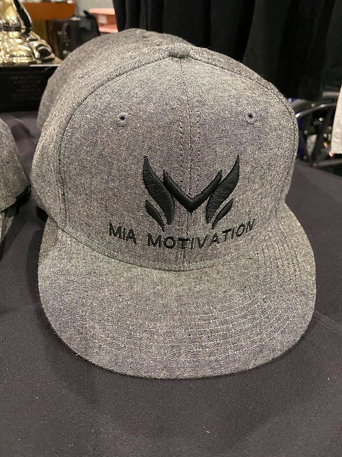 MiaMotivation Grey Flat Bill Pro Style Snapback Cap