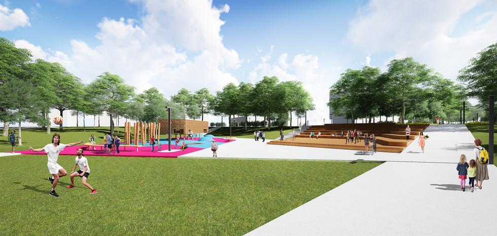 зона амфитеатра и детской игровой площадки