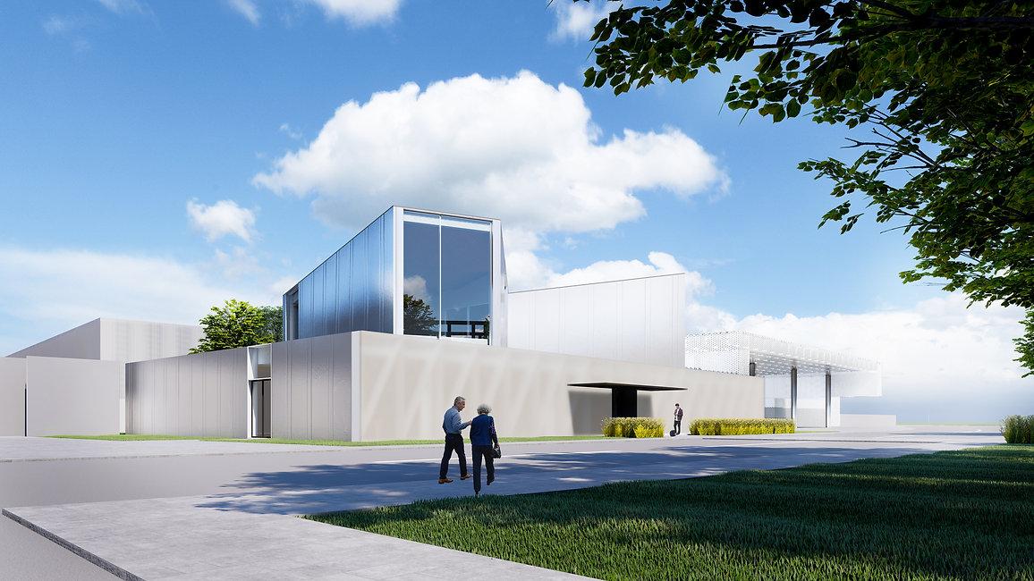 Минималистичный фасад выставочного павильона.