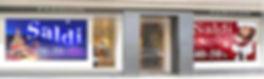 Saldi di natale e invernali con pannelli stampati per vetrine di negozi
