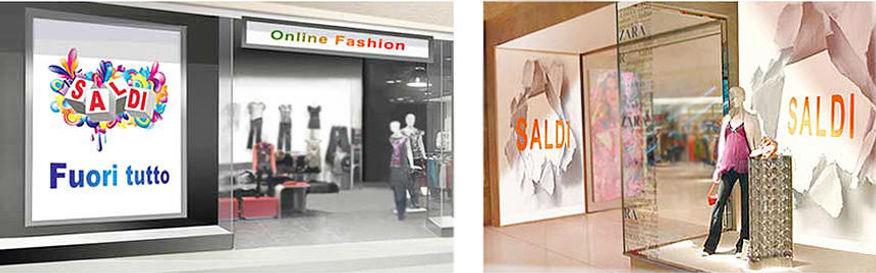 Pannelli e fondali nel periodo dei saldi per negozi e vetrine