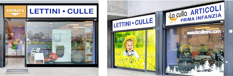 Insegne e adesivi per la vetrina di negozio articoli prima infanzia
