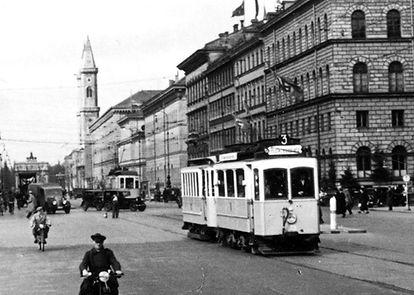 A4-Tw 273 in der Ludwigstraße einwärts 1937 München Tram