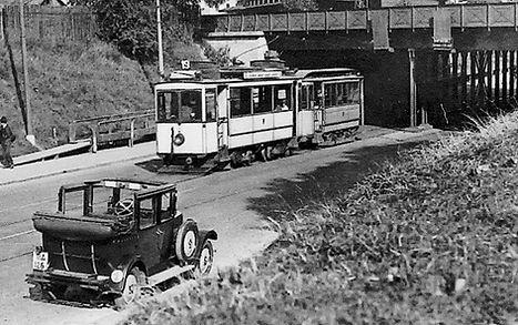 A3-Tw 127 + c-Beiwagen an der Unterführung Landsberger Straße auswärts 1927 münchen tram