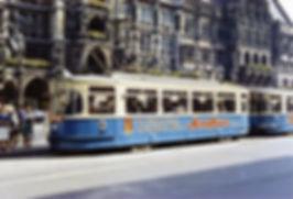 M4-Tw 963 + Bw 1785 am Marienplatz Richtung Stachus 29.7.1966 tram münchen