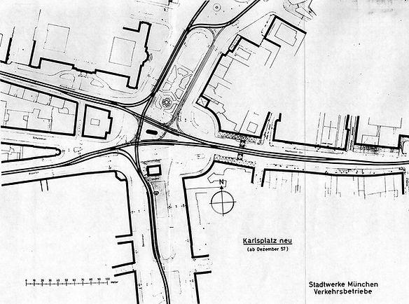 Gleisplan ab Dezember 1957 Karlsplatz Stachus