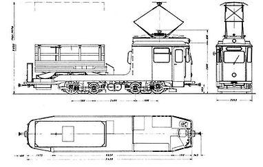 Turmwagen  Typ: Tu 1.8 Betriebsnummer: 45 bauzeichnung skizze tram München