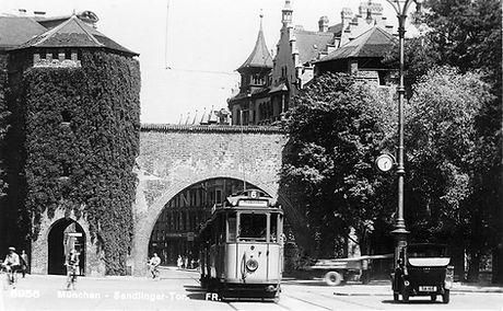 E-Tw 567 am Sendlinger Tor auswärts  1925 München tram