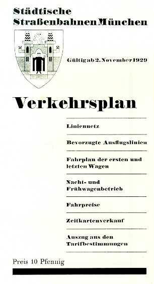 Liniennetzplan 1929  (Nachdruck) mit Fahrplan und Fahrpreisen (farbig)