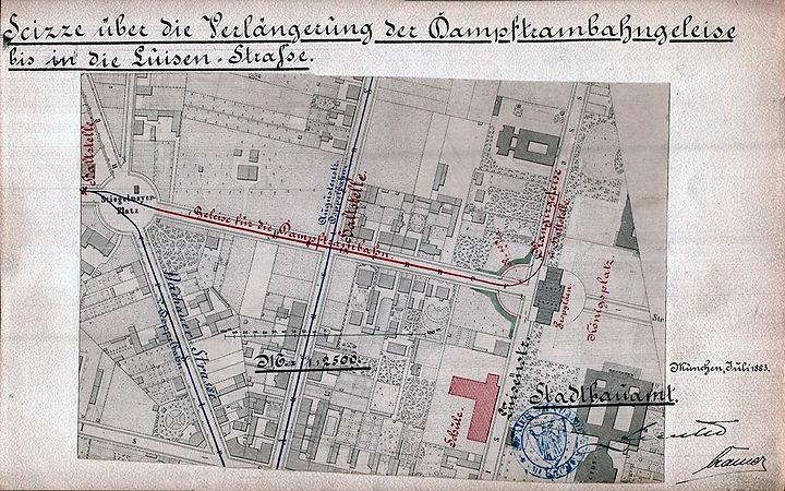 1883_Dampftrambahn_Endstation_Königspla
