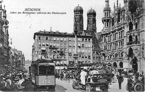 A2-Tw 153 am Marienplatz Richtung Bogenhausen 1910 München Tram
