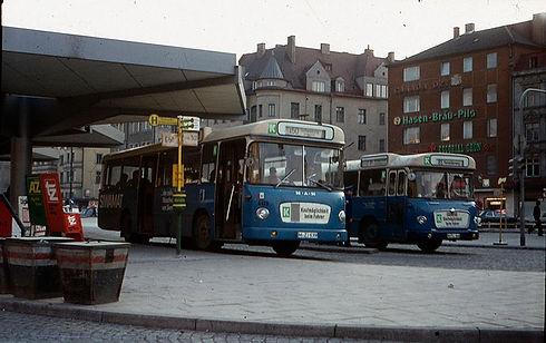 Der damalige 50er-Bus fuhr 1971 von der Münchner Freiheit zum Olympiazentrum, 1972 abgelöst von U3 münchen tram bus