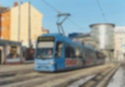 Tw 2204 an der Haltestelle Haidenauplatz einwärts als S-Bahn-SEV 12.1.2003 tram München