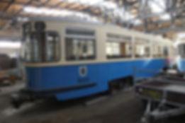 Der m4-Beiwagen 3463 am 12.6.2016 in der Gleisbauhalle Aufnahme: Reinhold Kocaurek tram münchen
