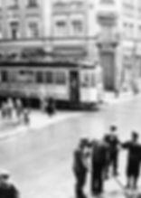 D-Tw an der Haltestelle Schellingstraße einwärts 1945 münchen tram