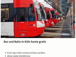 Am 3.Juni sind in Köln alle öffentlichen Verkehrsmittel kostenlos!