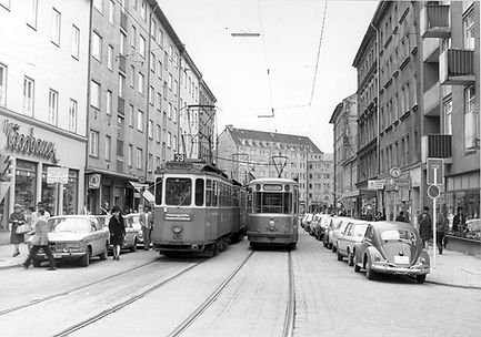 D-Tw 480 in der Weißenburger Straße 1972 tram münchen