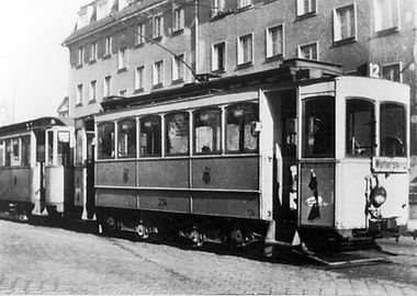 A-Tw 234 in der Ismaninger Straße beim Herkomerplatz 1954 tram münchen